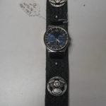 Black Leather Tooled Watch Band
