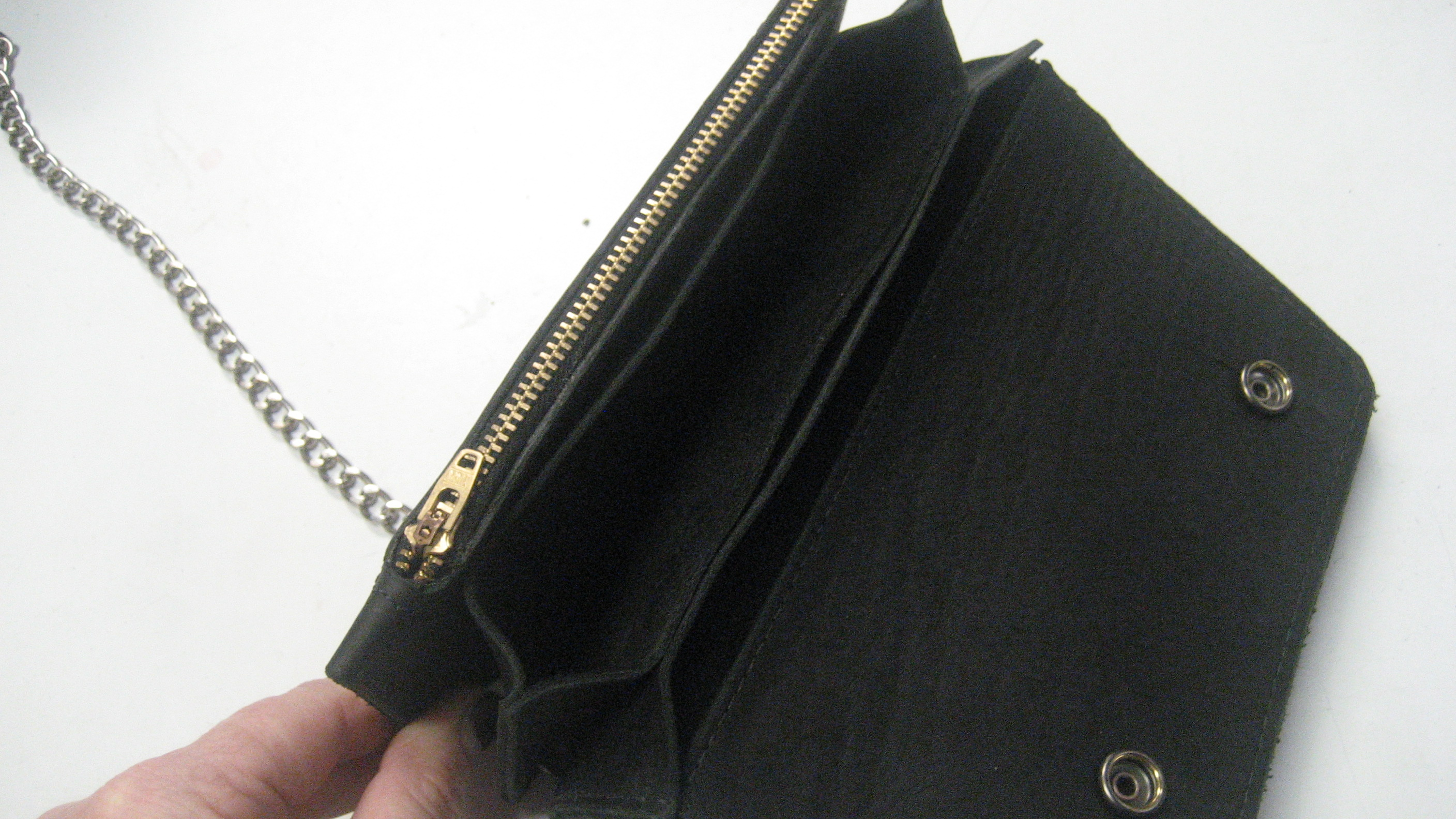 Mens Premium Leather Chain Wallet 8 Inch